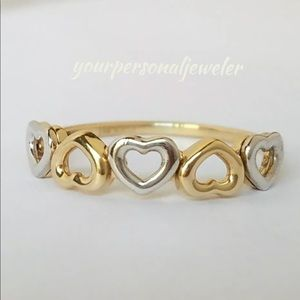 14k Two Tone Solid Gold Heart Ring Band